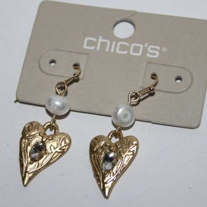 Beautiful NWT Chico's Earrings gold hearts pearls